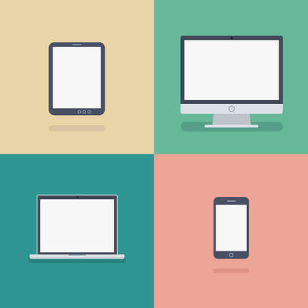 Vector illustration of different devices icons in flat style Stock Illustratie