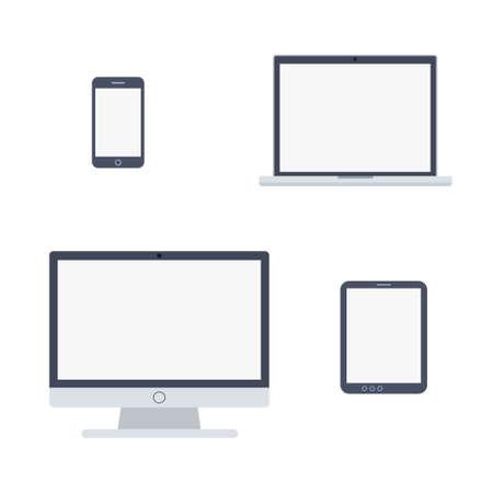 Illustrazione vettoriale delle icone dei dispositivi in stile piano isolato su priorità bassa bianca
