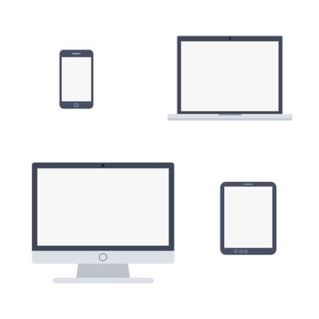 Vector illustration of devices icons in flat style isolated on white background