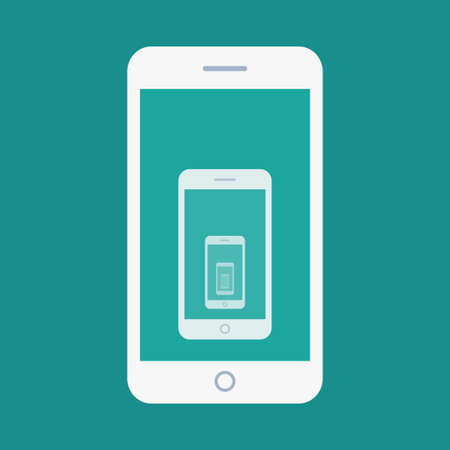 Vector flat illustration of smartphone recursion