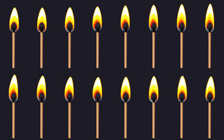 Vector illustration of burning match   sheet on dark background. Can be used for GIF animation