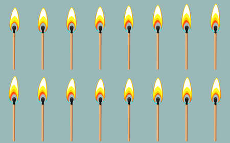 Vector illustration of burning match sprite sheet on gray background. Can be used for GIF animation