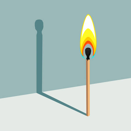 Flame has no shadow. Vector illustration of burning match and its shadow