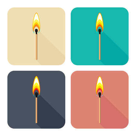 Vector set of colorful square flat icons with burning match isolated on white background Stock Illustratie