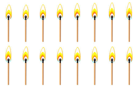 Vector illustration of burning match sprite sheet oisolated on white background. Can be used for GIF animation