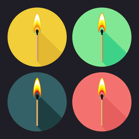 Vector set of colorful round flat icons with burning match on dark background