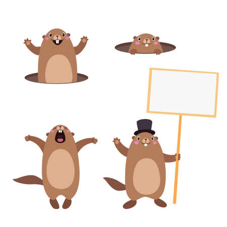 Vector Set of groundhog popping out of his hole and holding a blank sign board for message. Flat style