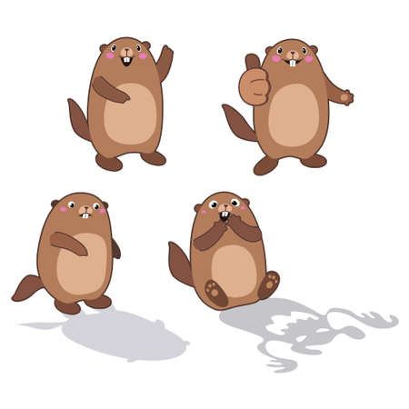 Vector set of groundhog with his shadow and without it. With cartoon outlines