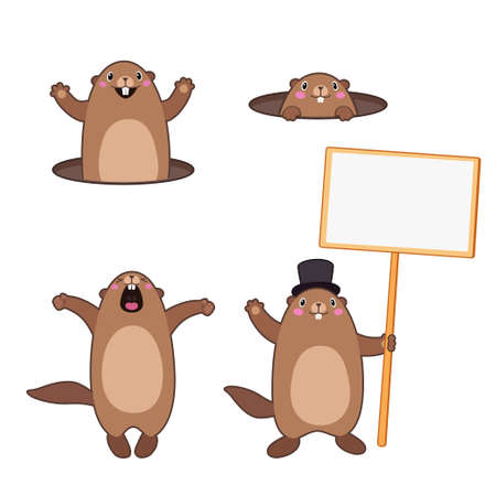 Vector Set of groundhog popping out of his hole and holding a blank sign board for message. With cartoon outlines