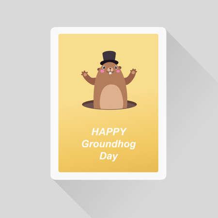 Vector illustration of Happy Groundhog Day greeting card. Minimalist flat style Stock Illustratie