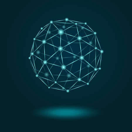 Vector illustration of wireframe sphere glowing on dark blue background. Abstract geometric polygonal object with lines and dots connected Ilustração
