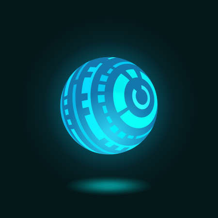 Vector illustration of futuristic spherical Head-Up Display glowing on dark blue background