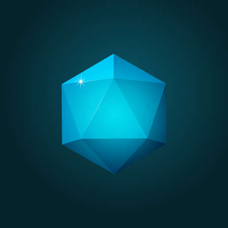 Vector illustration of icosahedron on dark blue background