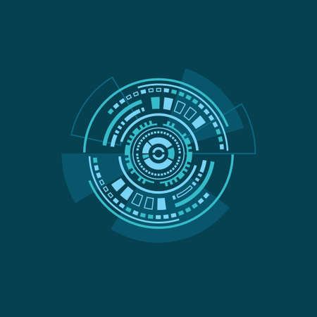 Vector illustration of abstract futuristic HUD interface on blue background. Plane colors Stock Illustratie