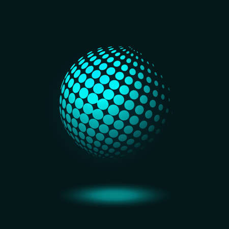 Vector illustration of abstract dotted halftone sphere on dark blue background Stock Illustratie