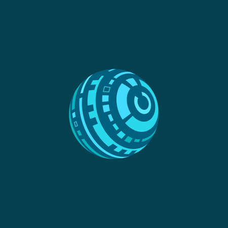 Vector illustration of futuristic spherical Head-Up Display on blue background. Plane colors