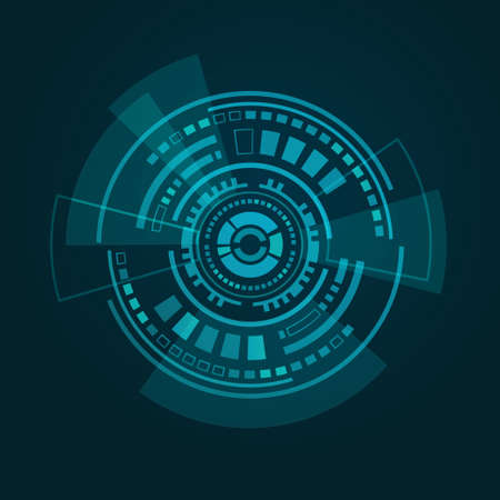 Vector illustration of abstract futuristic HUD interface on dark blue gradient background
