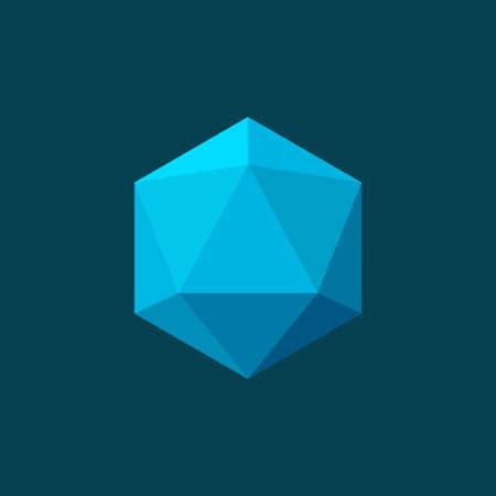 Vector illustration of icosahedron on blue background. Plane colors Stock Illustratie