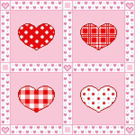 Vector illustration of patchwork background with hearts for Valentines Day greetings in Pixel-Art style