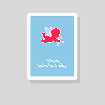 Vector illustration of Valentines Day greeting card with Cupid silhouette. Minimalist design