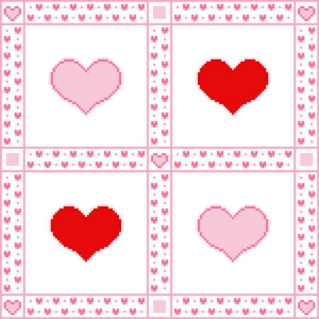 Vector illustration of embroidery background with hearts for Valentines Day greetings in Pixel-Art style