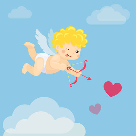 Vector illustration of flying playful Cupid with bow and arrow on blue background Stock Illustratie