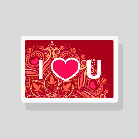 Vector illustration of Valentines Day greeting card I Love You with abbreviated text and heart shape on mandala pattern background