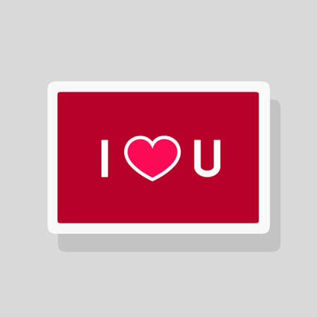 Vector illustration of Valentines Day greeting card I Love You with abbreviated text and heart shape on red background. Minimalist design Stock Illustratie