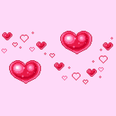 Vector illustration of hearts for Valentines Day greetings in Pixel-Art style Stock Illustratie