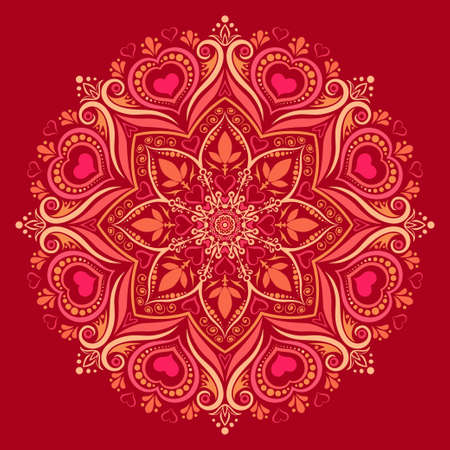 Vector illustration of a round mandala pattern with hearts interwoven in colorful ornament