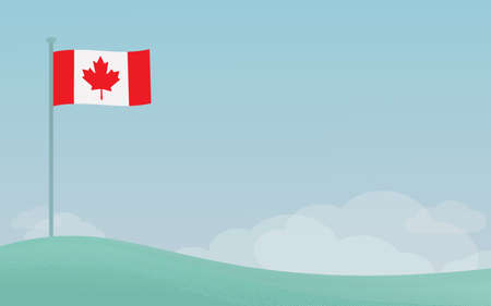 Vector illustration of national Canadian flag waving on a pole against blue sky background with copyspace