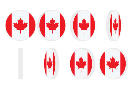 Vector illustration of Canada flag round icon spinning. Animation sprite sheet. Isolated on white background