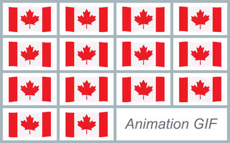 Vector illustration of waving National Canadian flag sprite sheet isolated on white background. Can be used for GIF animation