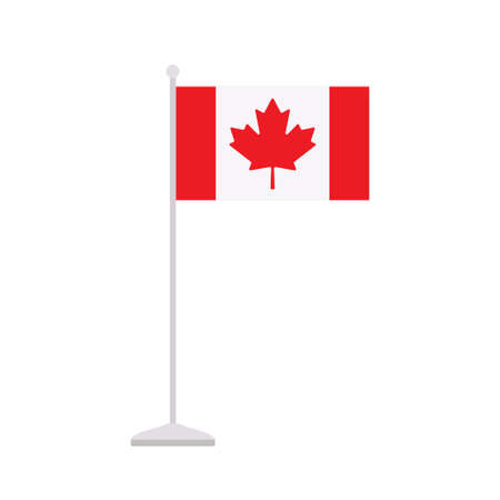 Vector illustration of Canadian table flag on stand isolated on white background Stock Illustratie
