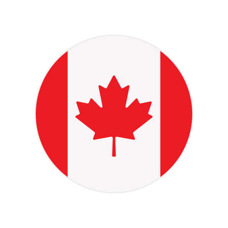 Vector simple round icon, button or badge with National Canada flag isolated on white background Stock Illustratie
