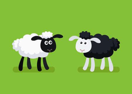 Vector illustration of cartoon black and white sheep standing on plain green background Stock Illustratie