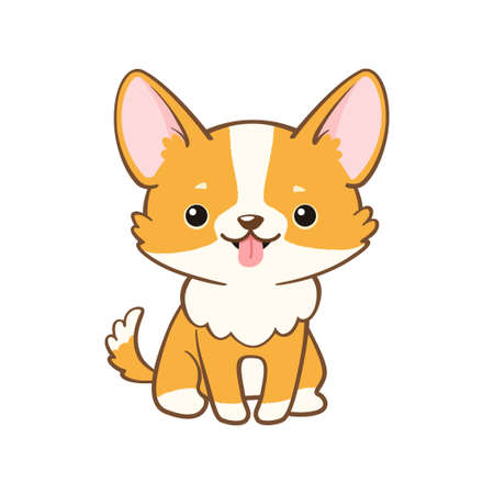 Vector illustration of cute friendly little corgi dog sitting and smiling. Isolated on white background. Can be used for baby shower invitation and greeting cards Stock Illustratie