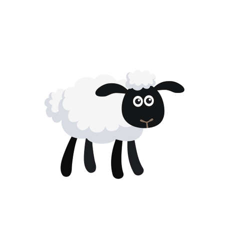 Vector illustration of standing cartoon sheep isolated on white background