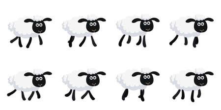 Illustration vectorielle de feuille de sprite de moutons au trot de dessin animé isolé sur fond blanc. Peut être utilisé pour l'animation GIF Vecteurs