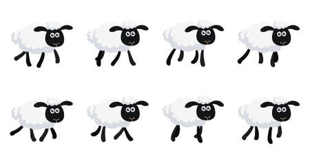 Vector illustration of cartoon trotting sheep sprite sheet isolated on white background. Can be used for GIF animation