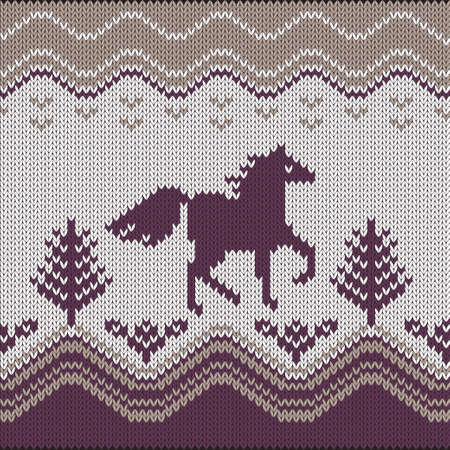 Seamless knitting pattern with horse, trees and flowers
