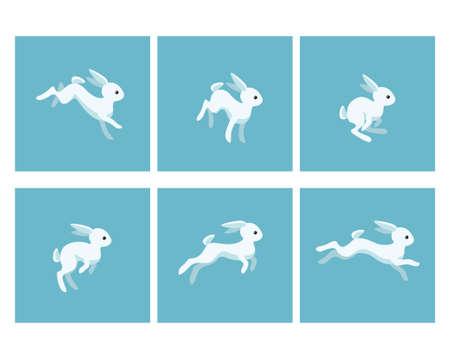 Vector illustration of cartoon running rabbit sprite sheet. Can be used for GIF animation Stock Illustratie