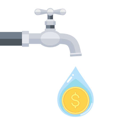 Vector illustration of water tap with coin inside water drop isolated on white background