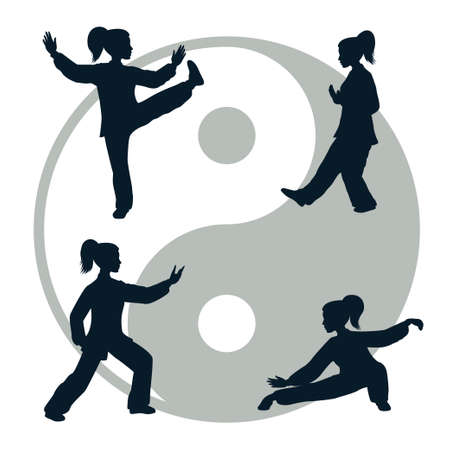 Vector silhouettes of yang woman performs a few forms of Tai Chi isolated on white background