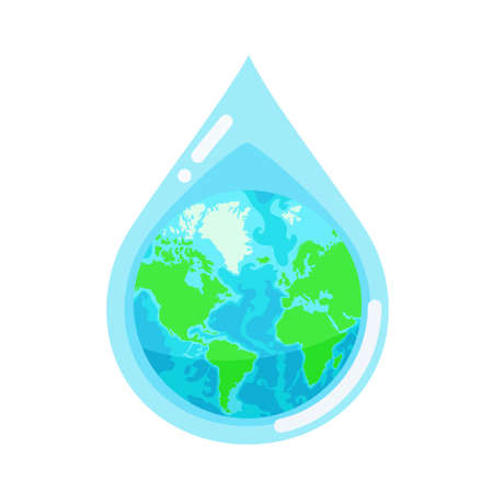 Water droplet with the Earth globe inside. Concept of water resources. Vector illustration isolated on white background Ilustração