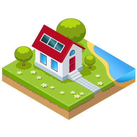 Vector illustration of Eco-house with solar cells in isometric view Stock Illustratie