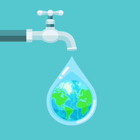 Vector illustration of water tap with the Earth globe inside water drop on blue background Vectores