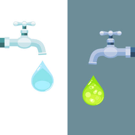 Vector illustration of water taps with clean and toxic drops