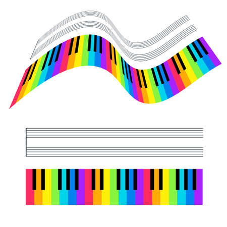 Vector illustration of colorful piano keys and stave