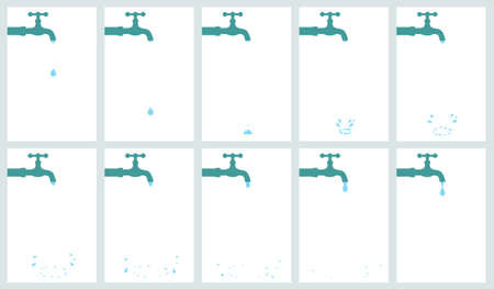 Vector illustration of water tap dripping with water drop and splash. Sprite sheet isolated on white background. Can be used for GIF animation